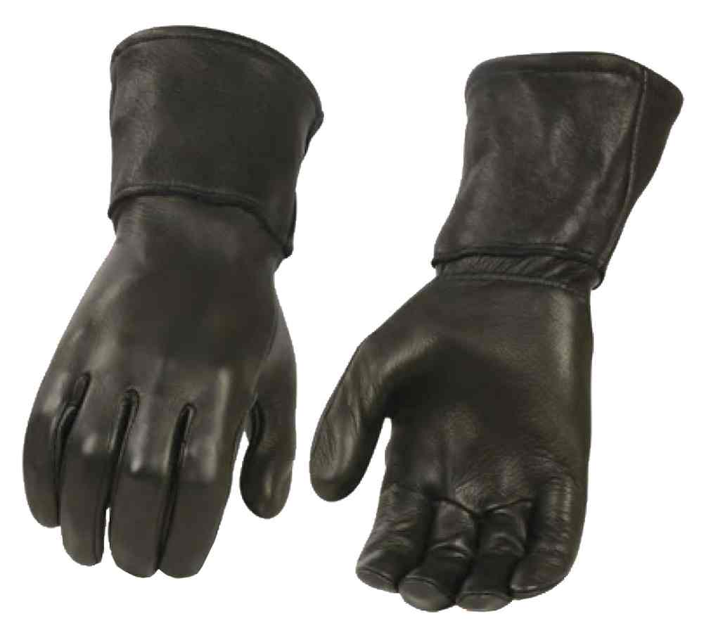 Milwaukee Leather Men's Deerskin Leather Thermal Gauntlet Gloves, Black G317