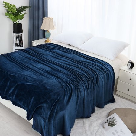 Super Soft Flannel Blanket Reversible Velvet Plush Blanket,Queen,Navy -