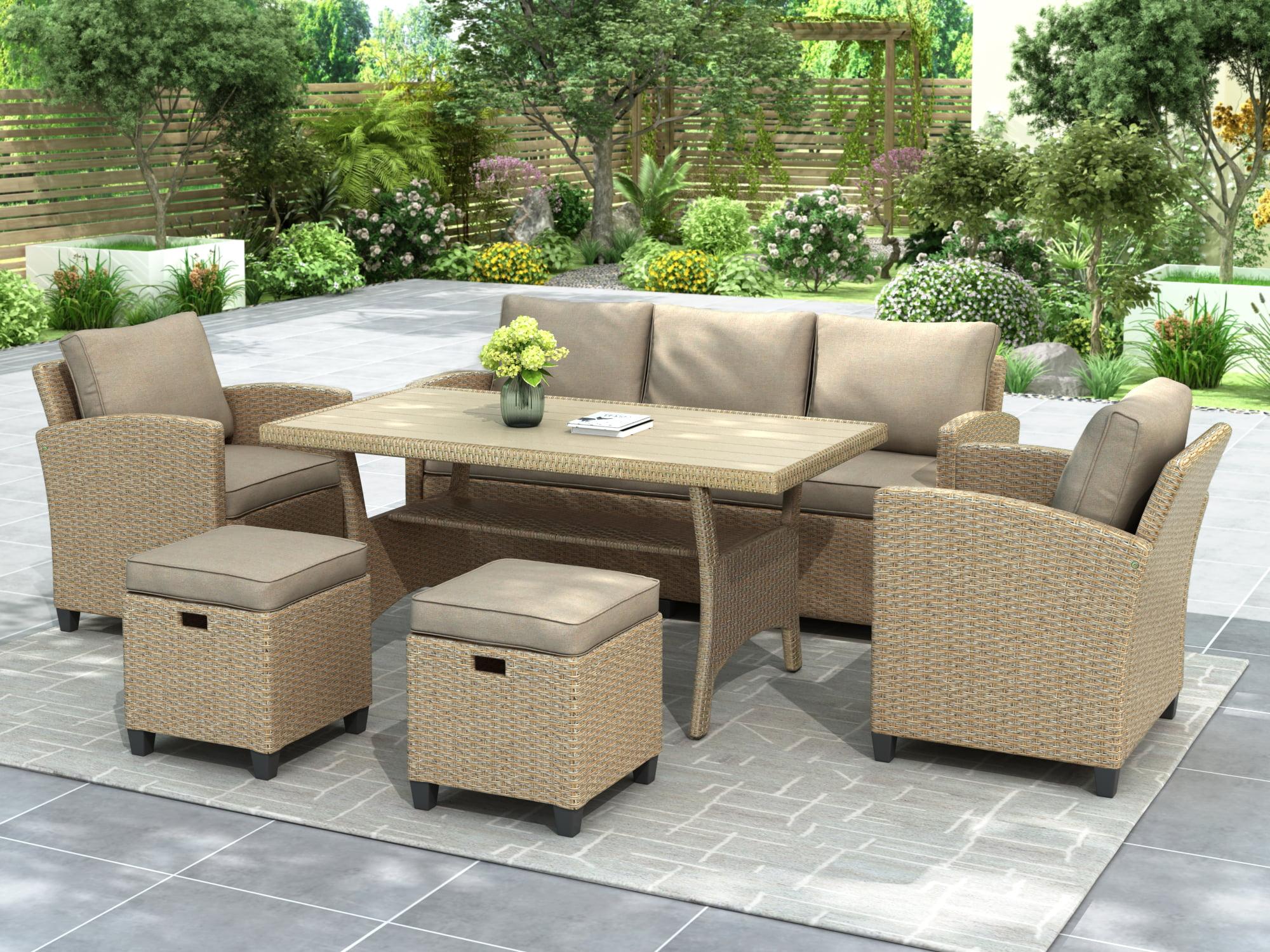 Outdoor Patio Dining Set, 6 Piece Wicker Furniture Set ...