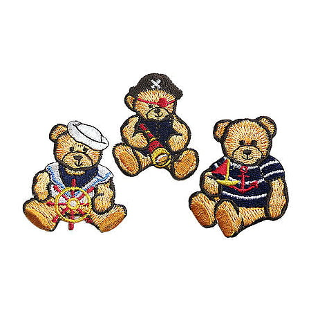Nautical Needlepoint - Lily Nautical Sailor Pirate Cute Teddy Bear Embroidery Iron On Patch Applique