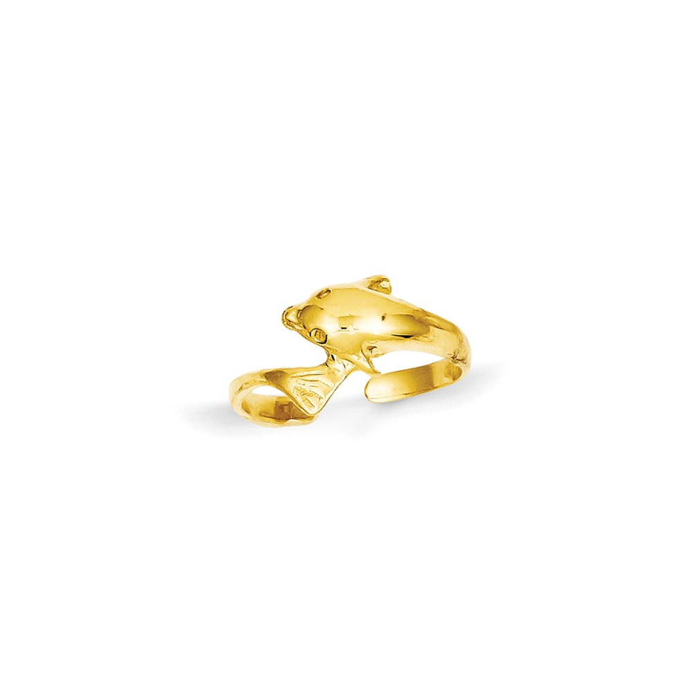 14k Yellow Gold Child's Dolphin Toe Ring