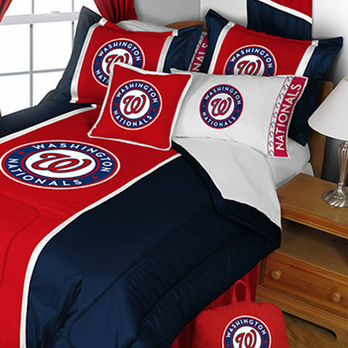 MLB Washington Nationals Comforter and Pillowcase Set Baseball Team Logo Bedding Twin