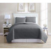 Oversized Solid Grid Bedspread/Quilt Set