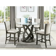 Roundhill Kecco 5 Piece Cicicol Counter Height Glass Top Dining Table with Chairs, Espresso