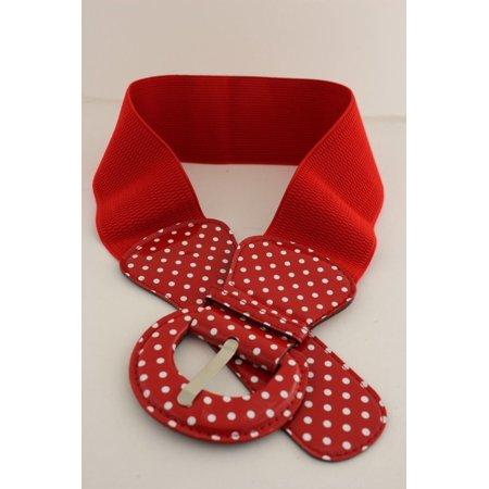 Women Belt Elastic Red Polka Dots Fashion Hip High Waist Round Buckle (Polka Dots Belt Buckle)