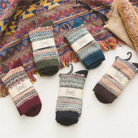 Fancyleo 5Pairs Winter Soft Cashmere Wool Socks Warm Sleep Bed Floor Fluffy Unisexn Socks
