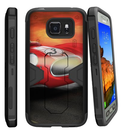 Samsung Galaxy [ S7-ACTIVE model] G891A Dual Layer Shock Resistant MAX DEFENSE Heavy Duty Case with Built In Kickstand - Racecar Cartoon