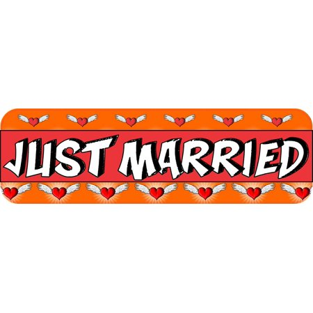 10X3 Just Married Bumper Sticker Vinyl Hearts Decal Car Door Wedding Sign Decals - Just Married Car Decorating Kit