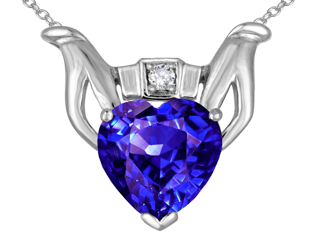 Star K Claddagh Love Pendant Necklace with 8mm Heart Simulated Tanzanite in 14 kt White Gold by
