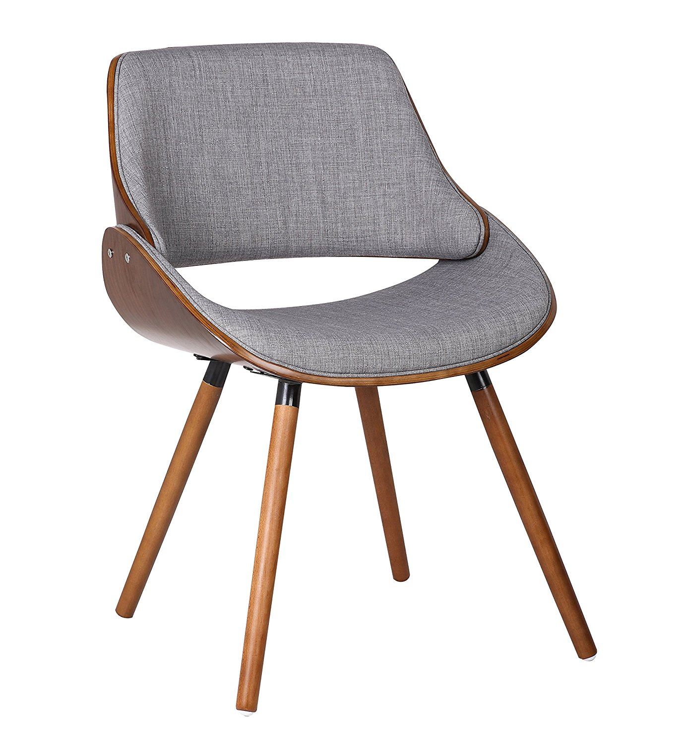 US Pride Furniture Mid Century Wood and Fabric Upholstered Chair with High Wraparound Back, Grey, C-064