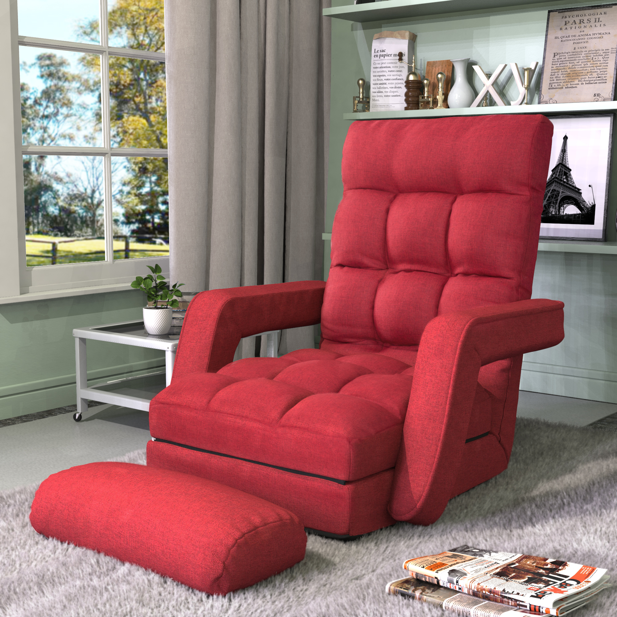 Idee Renovation Salon modern floor couch chair set, foldable floor cushions seating lazy sofa for  adults teens kids, floor chairs with 5 angle adjustable back support for