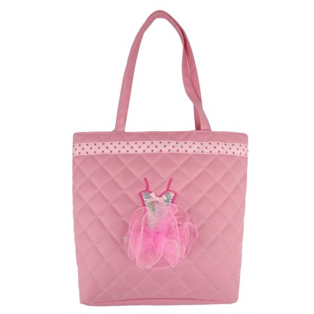 1PerfectChoice Girls Dance Tote Bag Light Pink Quilted with Sequin Ballerina Tutu - Ballerina Tote