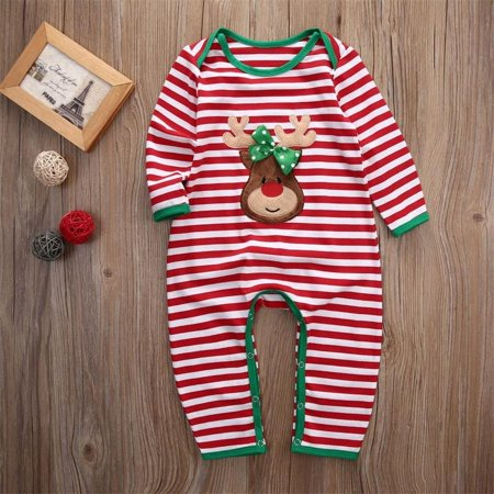 Dalmatian Onesie Kids (Newborn Kids Baby Boys Girls Christmas Striped Pajamas Sleepwear Romper)