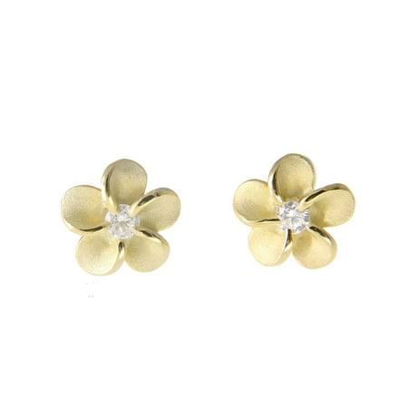 Yellow gold plated on sterling silver 925 Hawaiian plumeria flower stud earrings cz 6mm ()