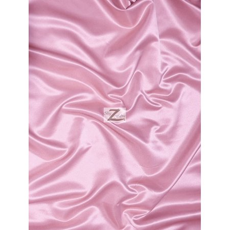 (Solid Shiny Bridal Satin Fabric / Pink / Sold By The Yard)