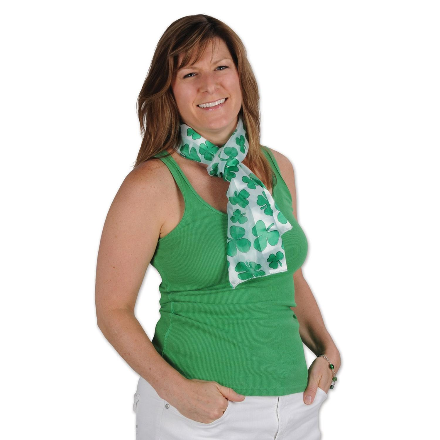 Club Pack of 12 Green and White St. Patrick's Day Shamrock Scarves 55""