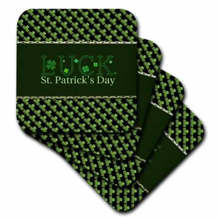 Green Tile Coaster (3dRose Luck St. Patrick Day, Shamrocks, Green and Black - Ceramic Tile Coasters, set of 4)