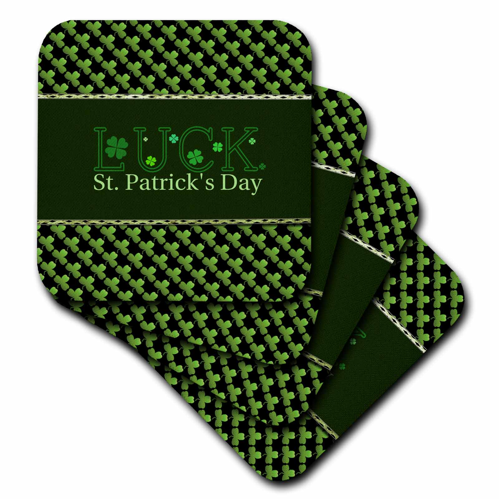 3dRose Luck St. Patrick Day, Shamrocks, Green and Black - Ceramic Tile Coasters, set of 4