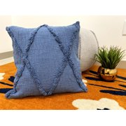 LR Home Solid Denim Blue 18 in. x 18 in. Diamond Tufted Throw Pillow
