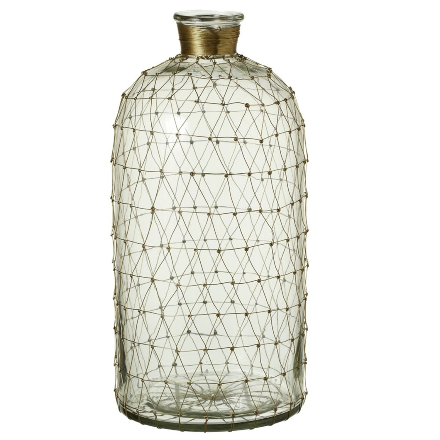 "15.5"" Clear Glass with Gold Wire Netting Large Decorative Bottle Vases by Diva At Home"