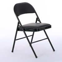 UbesGoo 6-Pack Padded Fabric Seat & Back Portable Stacking Folding Chairs Black