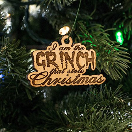 Grinch Stole Christmas Flannel - Ornament - I Am the Grinch That Stole Christmas - Raw Wood 2x3in