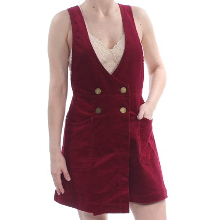 FREE PEOPLE Womens Burgundy Corduroy Button Overall V Neck Mini Party Dress  Size: 4