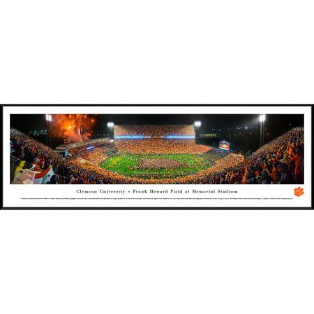Notre Dame Framed Art - Clemson University Night Football vs Notre Dame - Blakeway Panoramas NCAA College Print with Standard Frame