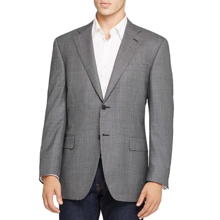 Houndstooth Italian (Canali Mens Slim Fit Black & White Houndstooth Sportcoat 40 Long Made In)