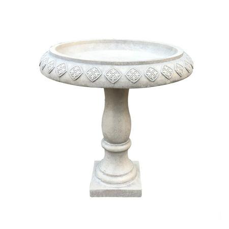 Natural Birdbath - Durx-litecrete Lightweight Concrete Arabesque Diamond Natural Concrete Color Bird Bath