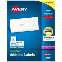 "Avery Easy Peel Address Labels, 1"" x 2-5/8"", 3,000 Labels (5160)"