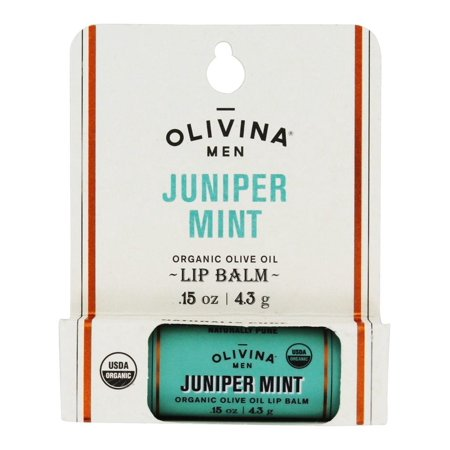 Olivina Men - Naturally Pure Organic Olive Oil Lip Balm Juniper Mint - 0.15 oz. (pack of 2)
