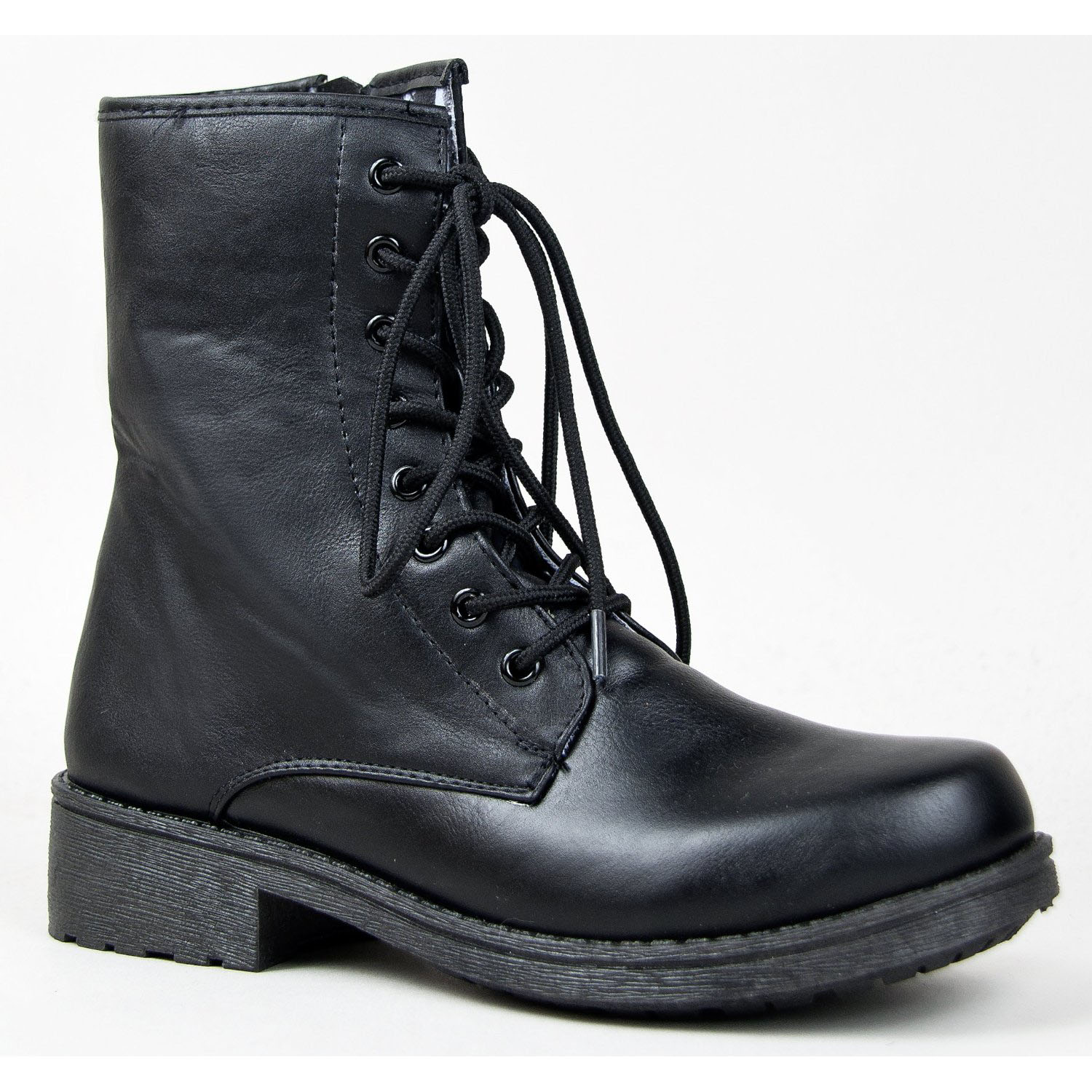 Women's Qupid Missile-04 Low Height Lace Up Combat Boot/Bootie