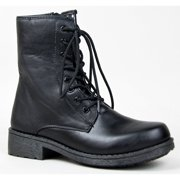 Women's Qupid Missile-04 Low Height Lace Up Combat Boot/Bootie, Black PU, 6