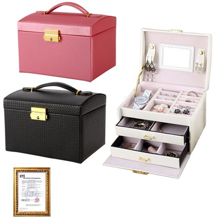 Jewelry Box Storage Box,3-layer Girl Gift 17.5 * 14 * 13cm Dressing Table PU Double Drawer Hand-held Jewelry Case Leather Mirrored Organizer Gift for Earring Ring Necklace & Bracelet Black Faux Leather Jewelry Case