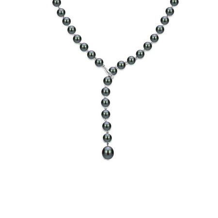 ADDURN Sterling Silver 7-8mm Black Freshwater Pearl Beaded Lariat Y Adjustable Necklace, 19.5