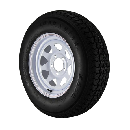 ST215/75D14 Loadstar Trailer Tire LRC on 5 Bolt White Spoke Wheel