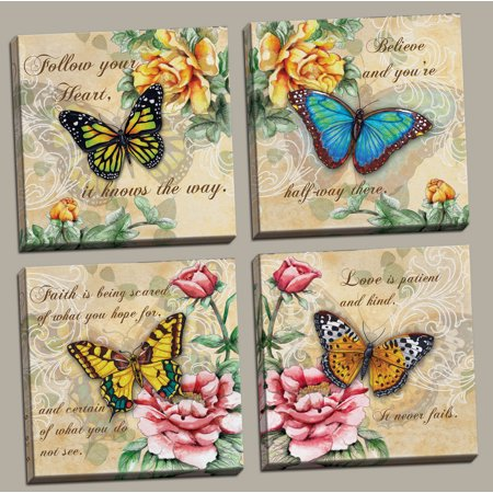 4 Beautiful Butterflies and Flowers Inspirational Quotes Butterfly Art Prints; Four 12x12in Hand-Stretched Canvases, Ready to Hang!