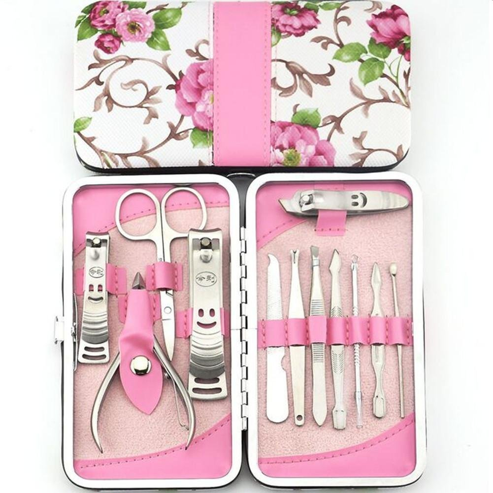 12pcs Flower Series Stainless Steel Manicure Pedicure Set ,Travel & Grooming Set, Personal Care Tools, Nail Scissors Nail Clippers Kit with PU Leather Case
