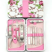 12pcs Flower Series Stainless Steel Manicure Pedicure Set Travel Grooming Personal Care
