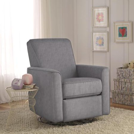 Sofaweb Zoey Grey Nursery Swivel Glider Recliner Chair