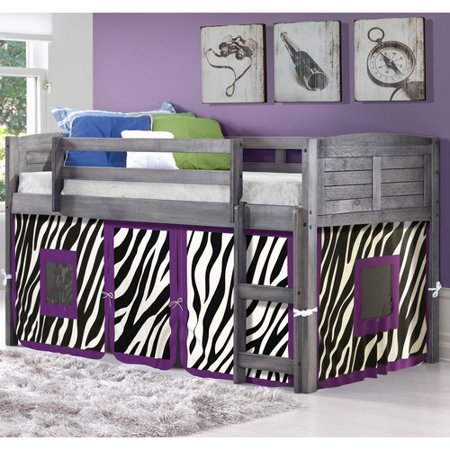 Zoomie Kids Isaacs Zebra Twin Low Loft Bed Walmart Com