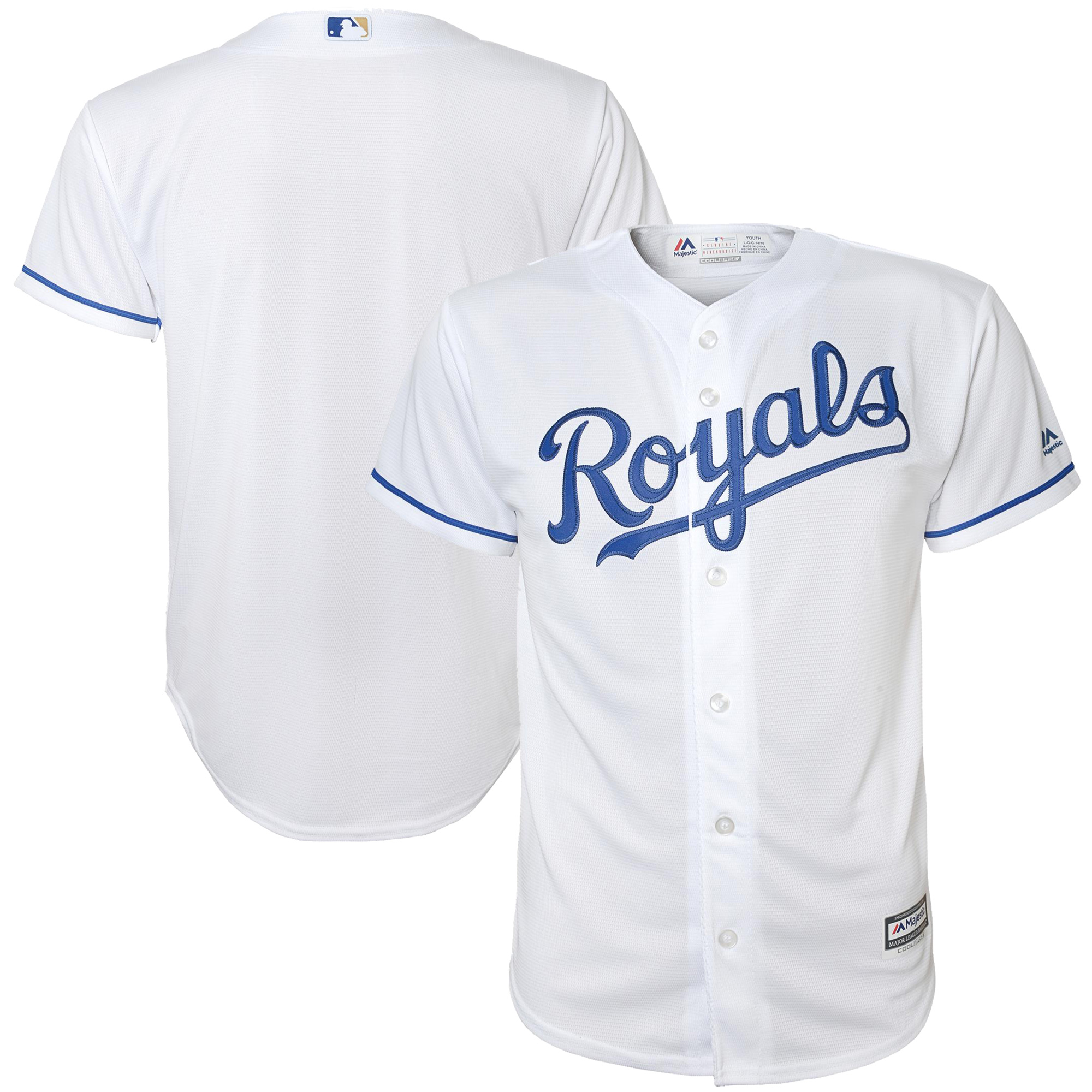 Kansas City Royals Majestic Preschool Official Cool Base Team Jersey - White - 7