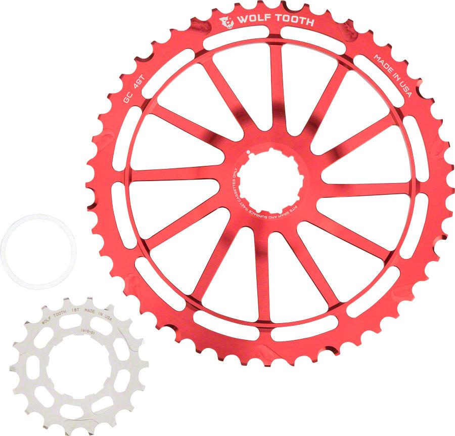 Wolf Tooth Components GC49: 49T + 18T Cogs, Red For SRAM NX Cassettes