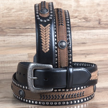 "32"" G BAR D 1.5"" BLACK LEATHER STRAP MENS COWBOY BELT W/ SILVER CONCHO BLACK"