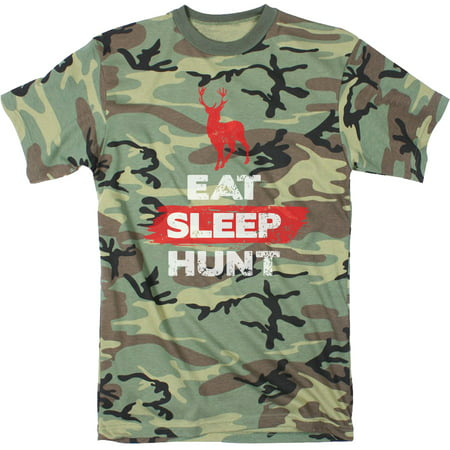 Mens Eat Sleep Hunt Funny Deer Hunting Camouflage Print T shirt (Linen Mens Camp Shirt)