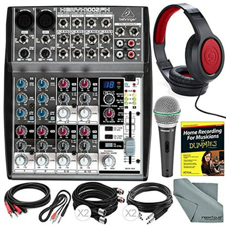 Behringer XENYX 1002FX 10-Channel Audio Mixer with Effects Processor and Accessory Bundle w/ Dynamic Mic + Home Recording Guide + 6X Cables + Headphones + Fibertique Cloth