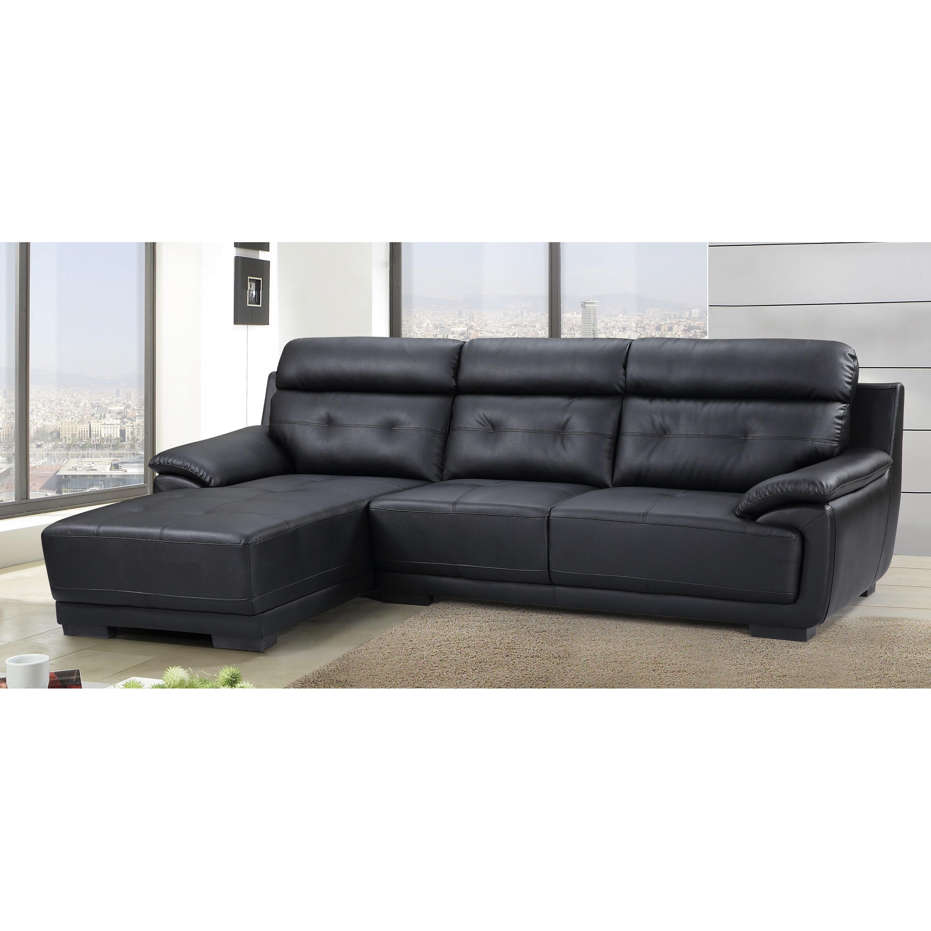 US Pride Furniture Amador Tufted Leather 2-pc Left Facing Sectional Sofa, Black, S0110L-2Pc