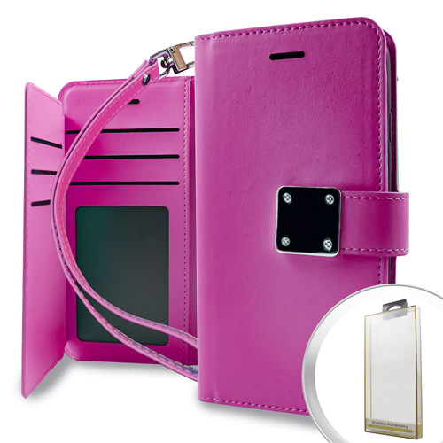 MUNDAZE Pink Storage Faux Leather Wallet Case For Samsung Galaxy S9 Phone