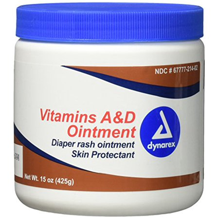 2 Pack Dynarex Vitamin A&D Ointment 15 oz. Jar - Skin, Rash, Tattoo, Small Burns Ointment Helps treat and prevent diaper rash. Dries the oozing and weeping of poison ivy, poison oak Protects chafed skin Dry Skin with Vitamins A and D Ointment, Petrolatum Base.